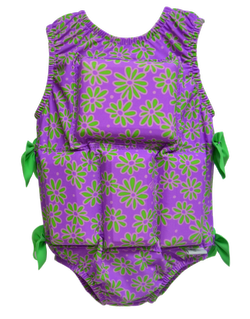 Girls Flotation Swimsuit - NEW - Purple Daisy