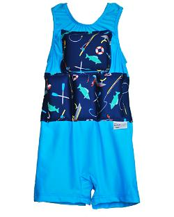 Boy's Flotation Swimsuit - Cyan Bass Boat