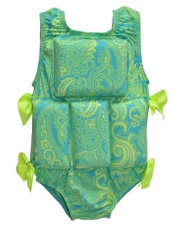 Girl's Flotation Swimsuit - Lime Paisley