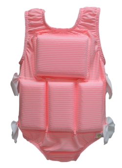 Girl's Flotation Swimsuit - NEW-Pink Seersucker