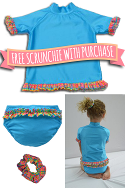 Girl's Ruffle Rash Guard Set - Aqua/Rainbow Plaid  FREE Scrunchie with purchase