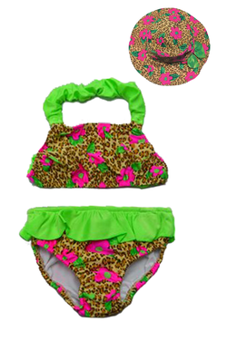 Girl's Swim Diaper Bikini Set -Leopard Daisy - Hat Combo