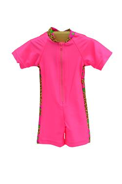 Girl's Sunsuit - Pink Leopard Daisy