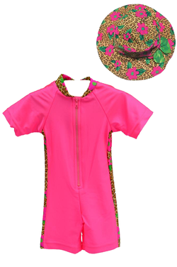 Girl's Sunsuit - Pink Leopard Daisy- Hat Combo