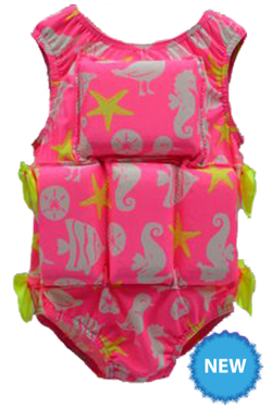 Girl's Flotation Swimsuit-NEW-Seahorse