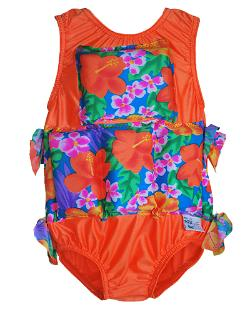 Girl's Flotation Swimsuit -  Orange Tropical