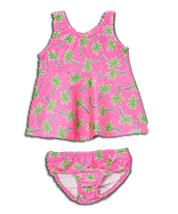 Girl's Swimster Dress & Swim Diaper - Palm Tree