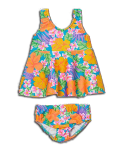 Girl's Swimster Dress & Swim Diaper - Tropical Garden