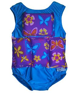 Girls Flotation Swimsuit - Purple Flower