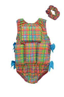 Girl's Flotation Swimsuit & Scrunchie Set - Rainbow Plaid