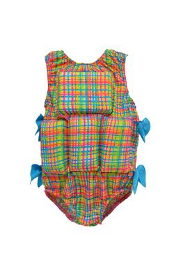 Girl's Flotation Swimsuit - Rainbow Plaid